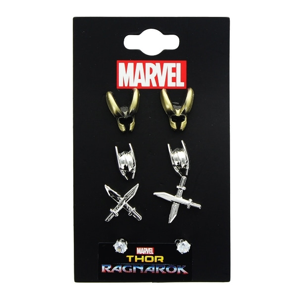 Marvel Thor: Ragnarok 3D Metal Stud Earrings 3-Pack: Thor, Loki, Swords