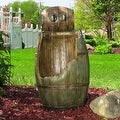 Sunnydaze Old Time Saloon Barrel Outdoor Water Fountain with LED - 31 Inch Tall - Thumbnail 0