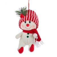 "11.5"" Red and White Snowman with Striped Hat Decorative Christmas Ornament"