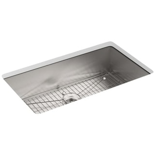 "Kohler K-3821-1 Vault 33"" Single Basin Top-Mount/Under-Mount 18-Gauge Stainless Steel Kitchen Sink with SilentShield"