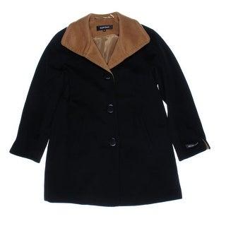 Ellen Tracy Womens Petites Wool Contrast Trim Coat - 4P