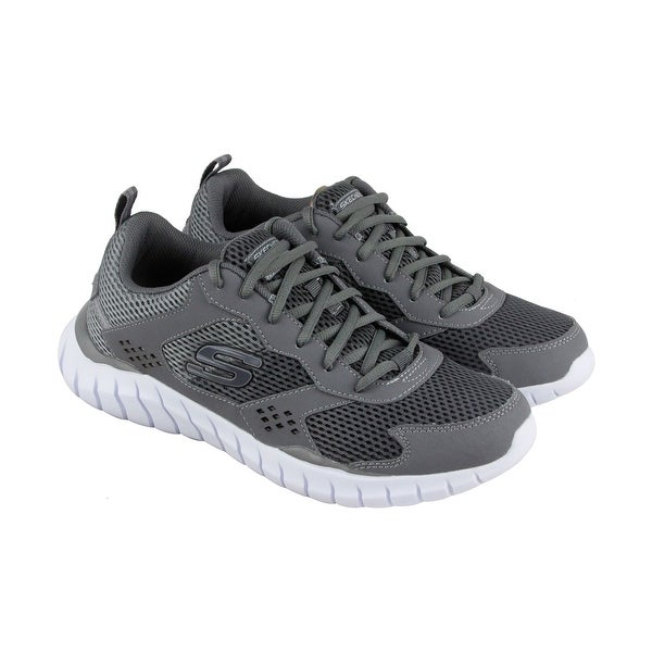 Skechers Overhaul Aukelt Mens Gray Mesh Athletic Lace Up Training Shoes