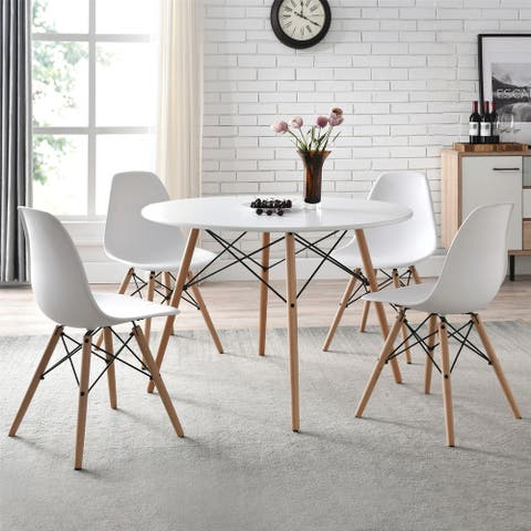 Mid-Century Modern Dining Chair, Set of 4, White and Beech Color