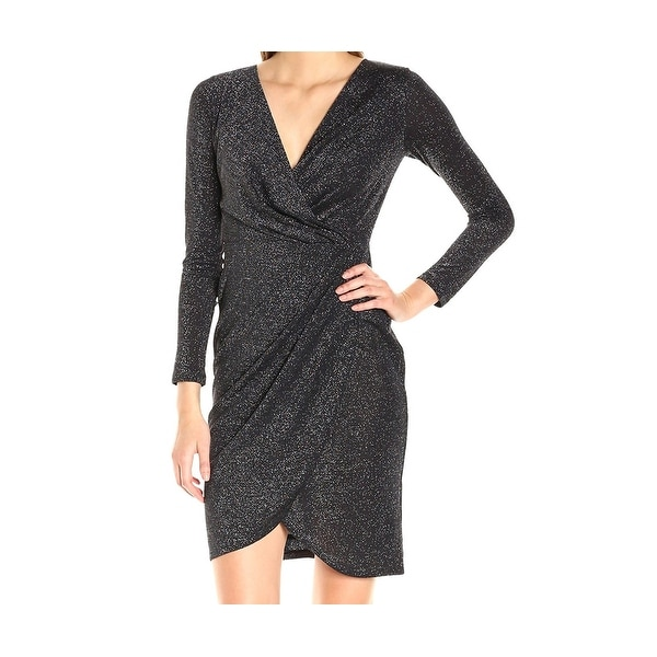 e8b8eea7 Shop Catherine Malandrino NEW Black Silver Womens 6 Glitter Faux-Wrap Dress  - Free Shipping On Orders Over $45 - Overstock - 18970085