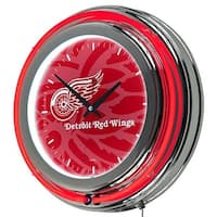 NHL Chrome Double Rung Neon Clock - Watermark - Detroit Redwings