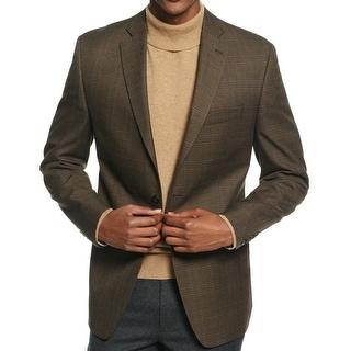 Michael Kors NEW Olive Green Men 40R Classic Fit 2-Button Plaid Blazer