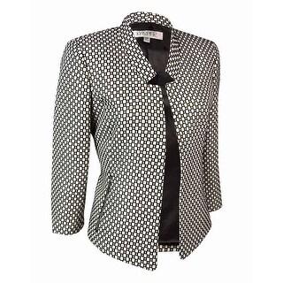 Kasper Women's Notched Open-Front Woven Pattern Blazer - Black/Ivory - 4P