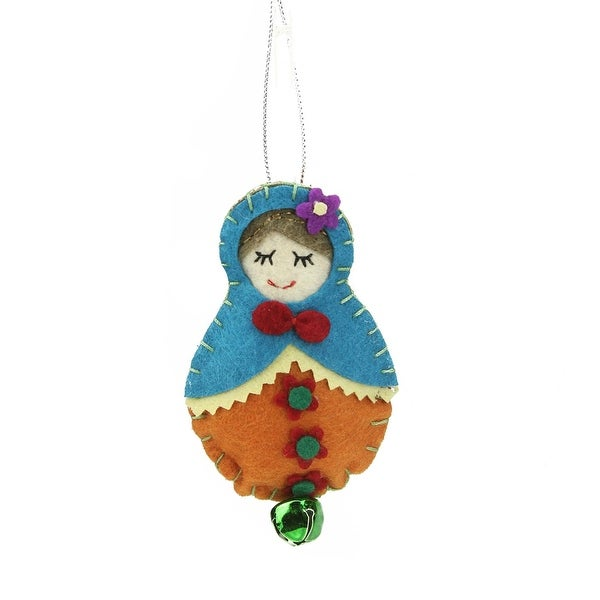 "4"" Turquoise Blue and Green Plush Felt Doll with Jingle Bell Christmas Ornament"