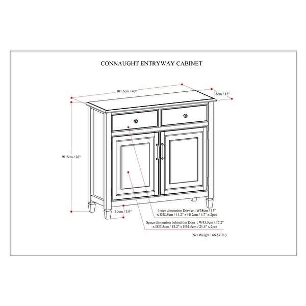 "WYNDENHALL Hampshire SOLID WOOD 40 inch Wide Transitional Entryway Storage Cabinet - 40""w x 15""d x 36"" h - 40""w x 15""d x 36"" h"