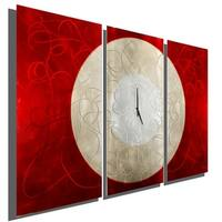 "Statements2000 Red/Silver Metal Panel Wall Clock Art by Jon Allen - Burning Moon Clock - 38"" x 24"""