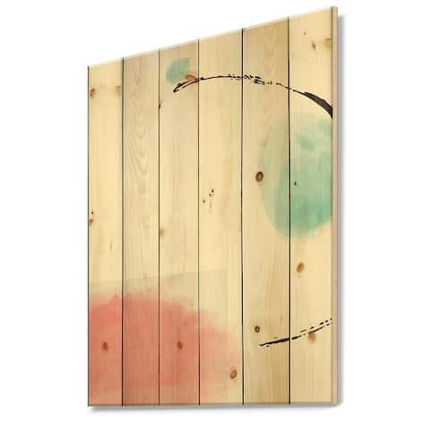 Designart 'Minimal Elementary Organic And Geometric Compostions XXXXXXIII' Modern Print on Natural Pine Wood