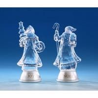 Pack of 8 Icy Crystal Illuminated Father Christmas Figurines 5""
