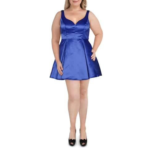 B. Darlin Womens Mini Dress Panel Sweetheart - Royal