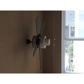 Antique White and Champagne Crystal Ceiling Fan - Brown