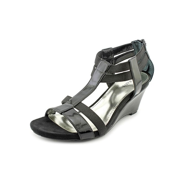 Alfani Maribeth Women Open Toe Synthetic Black Wedge Sandal