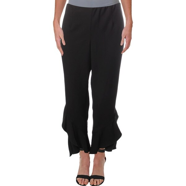Aqua Womens Cropped Pants Ruffled High Rise