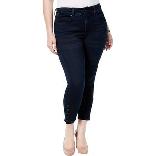 Seven7 Womens Plus Cropped Pants Button Cuff Slimming Fit