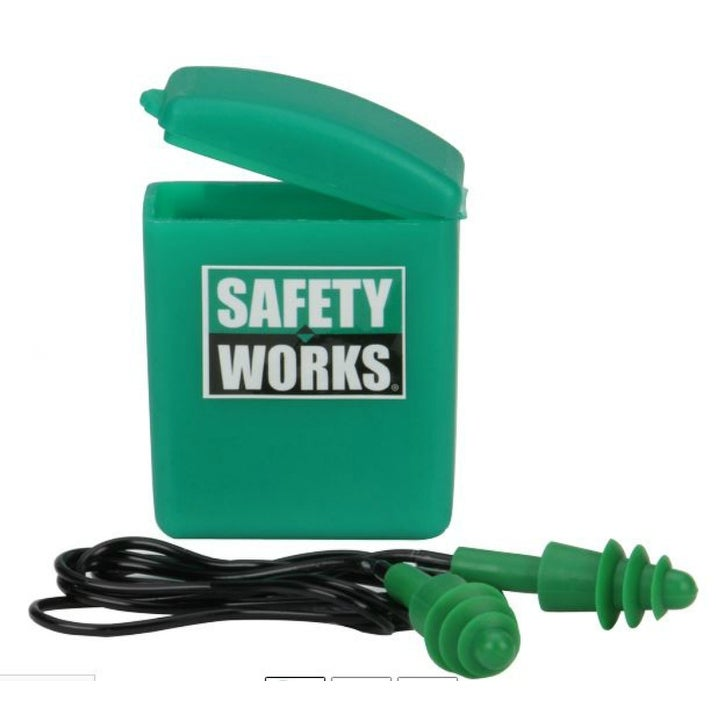Safety Works SWX00353 Triple-Flanged Rubber Ear Plugs with Case