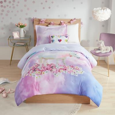 Julia Purple Unicorn Printed Comforter Set by Mi Zone Kids