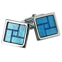 Blue Gridlock Design Cufflinks