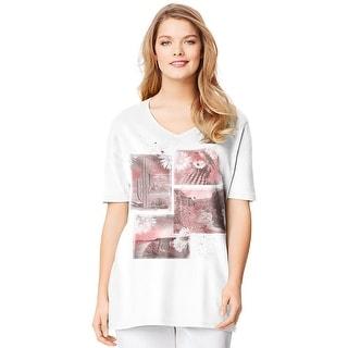 Just My Size Short-Sleeve V-Neck Women's Graphic Tee - Desert Vibes Print