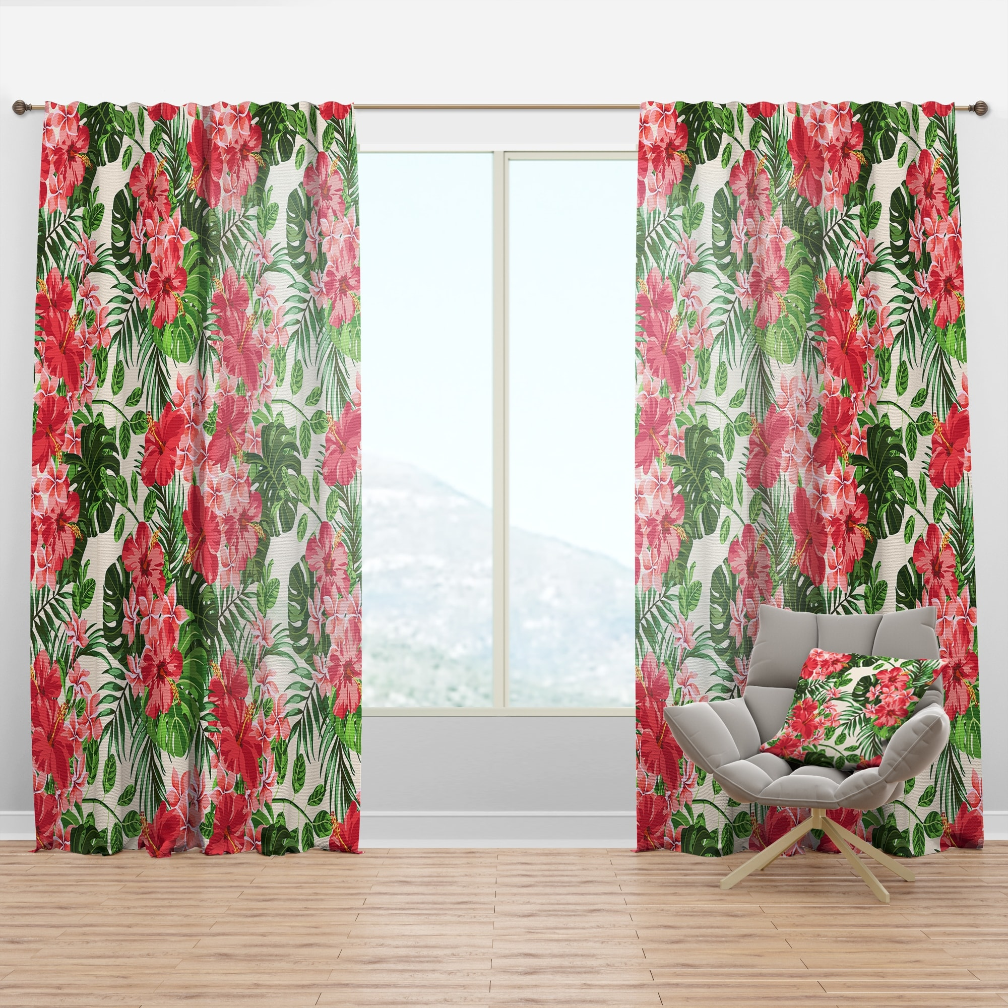 Designart Tropical Leaves And Flowers I Mid Century Modern Curtain Panel Overstock 29626089