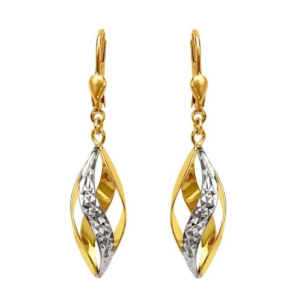 Just Gold Swirl Drop Earrings in Two-Tone 10K Gold