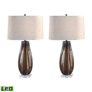 """Lamp Works 215/S2-LED Glass 1 Light 28"""" Tall LED Table Lamp with Hardback Linen Shade - Set of 2 - SAND"""