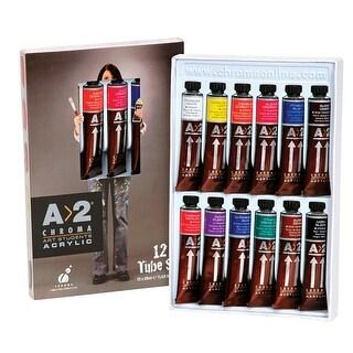 Chroma A 2 Lightfast Heavy Body Acrylic Paint Set, 0.67 Ounce Tubes, 12 Colors