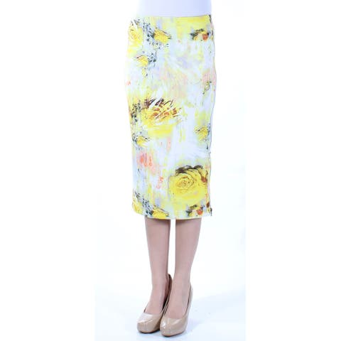 KIIND OF Womens Yellow Zippered Floral Midi Pencil Skirt Size: XS