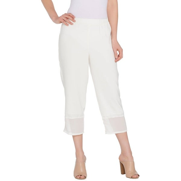Linea by Louis Dell'Olio Womens Mixed Media Pull On Crop Pants 1X Ivory A304743. Opens flyout.