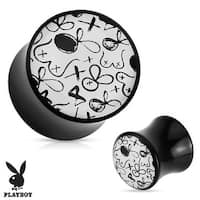 Playboy Exclusive Pattern Black Acrylic Saddle Plug (Sold Individually)