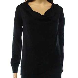 INC NEW Black Women's Size XL Shimmer Knit Draped Cowl Neck ...