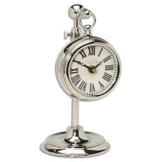 "12"" Cream British Brass Pocket Watch Style Clock on Adjustable Telescopic Stand"