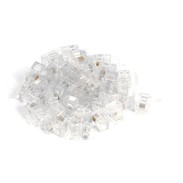 40pcs Clear Shell RJ11 6P4C Modular Plug Telephone Cable Line Adapter Connector