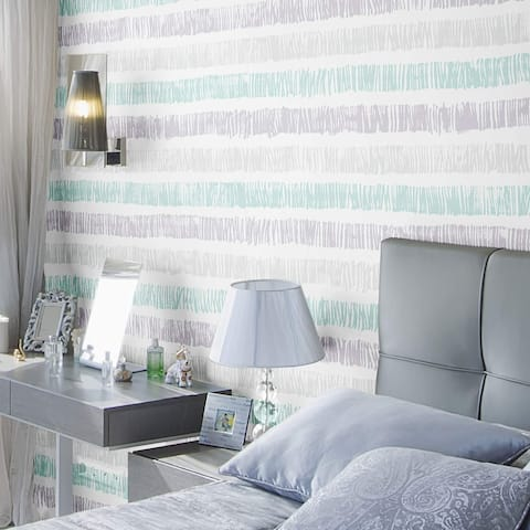 Green and Grey Striped Peel and Stick Removable Wallpaper 1822