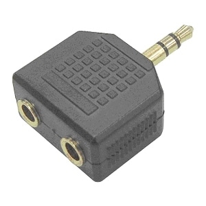 SIIG CB-AU0412-S1 SIIG 3.5mm Stereo Splitter - 1 x Mini-phone Male Audio - 2 x Mini-phone Female Audio - Black