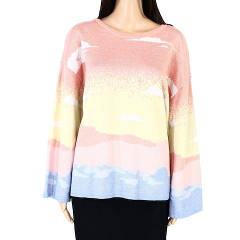 INC Womens Sweater Orange Blue 1X Pastel Sunset Beach Lurex Bell-Sleeve