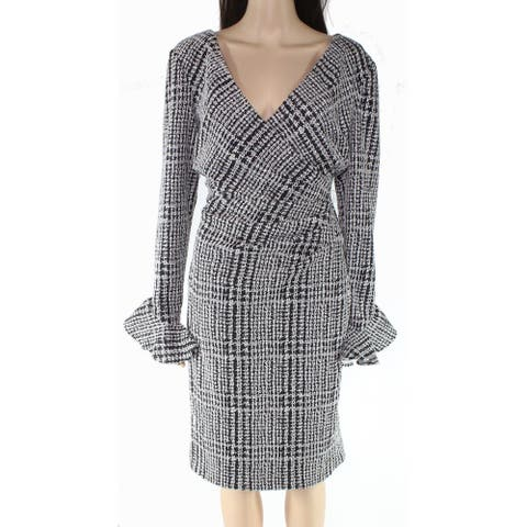 Lauren by Ralph Lauren Women's Dress Gray Size 10 Sheath Plaid Ruched