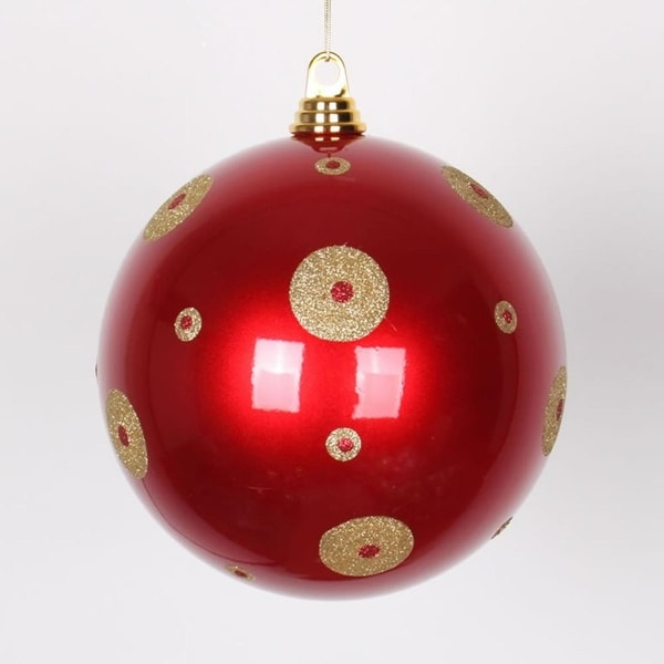 "Candy Apple Red with Gold Glitter Polka Dots Christmas Ball Ornament 8"" (200mm)"