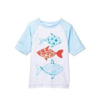 Azul Unisex Little Kids White Multi Color Fish Short Sleeve Rash Guard