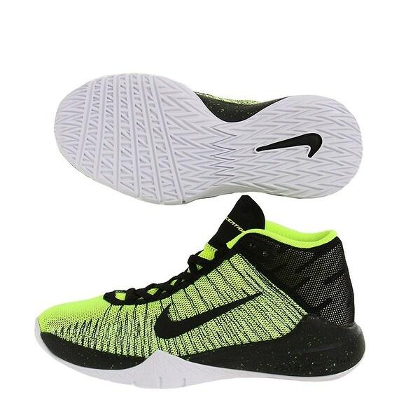 b32b1c41107786 Shop Nike Zoom Ascention (GS) Kids Basketball Shoes Volt Black White ...
