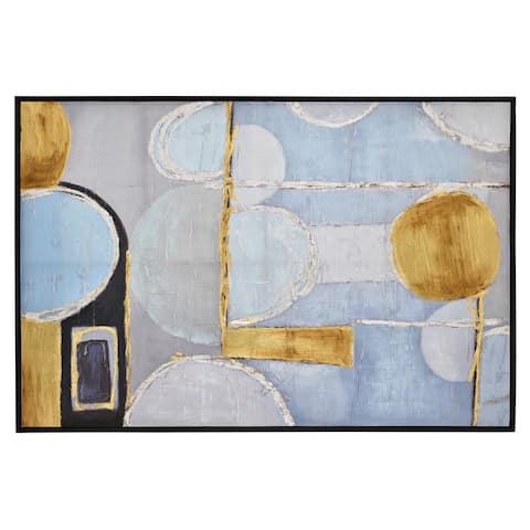 Plutus Brands Painting W/frame-oil On Canvas in Blue Natural Fiber