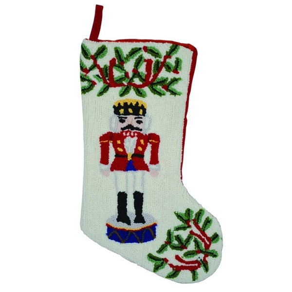 """18"""" Traditional Nutcracker Soldier and Holly Plush Textured Christmas Stocking - WHITE"""