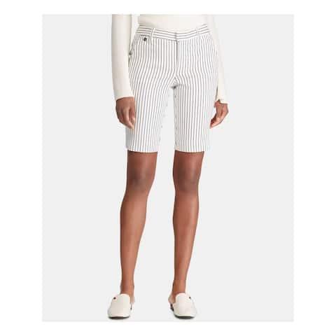 RALPH LAUREN Womens Ivory Striped Short Size: 0