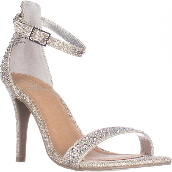 MG35 Blaire Ankle Strap Dress Heel Sandals, Silver