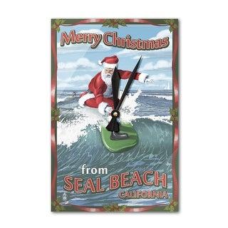 Merry Christmas Seal Beach CA Santa Surfing LP Art (Acrylic Wall Clock)