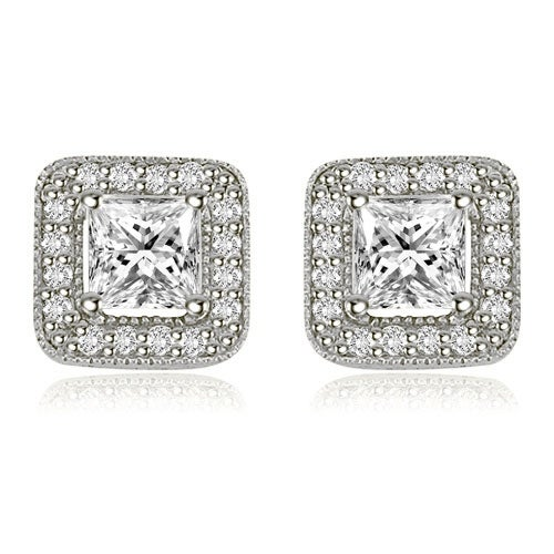 1.35 cttw. 14K White Gold Princess And Round Cut Halo Diamond Earrings - White H-I