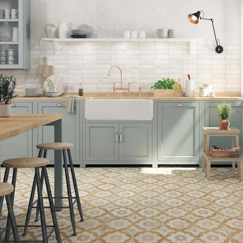 SomerTile Kings Clay Blossom 17.75 in. x 17.75 in. Ceramic Floor and Wall Tile - 17.75'' x 17.75''