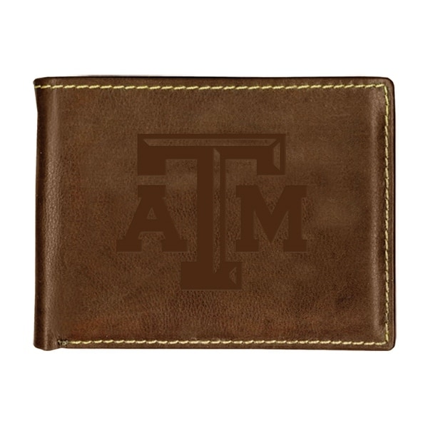 Texas A&M University Contrast Stitch Bifold Leather Wallet